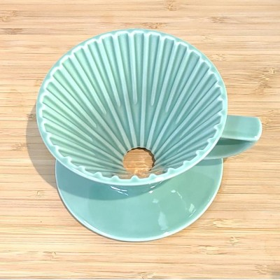 日本製 星芒濾杯-極 波佐見燒 M1錐形陶瓷濾杯 (湖水綠)